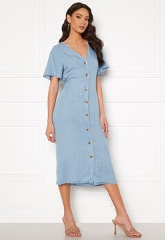 VERO MODA Viviana Ss Calf Dress Light Blue Denim bubbleroom.dk