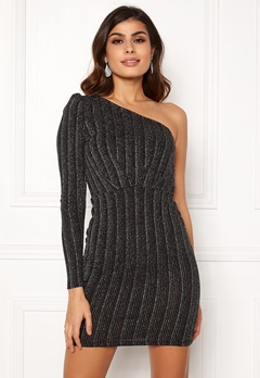 VERO MODA Wiona One Shoulder Short Dress Black Silver Lurex Bubbleroom.dk