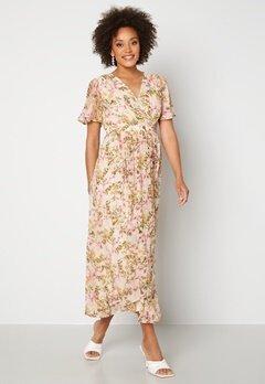 VERO MODA Wonda S/S Wrap Maxi Dress Birch AOP: Siga Bubbleroom.dk