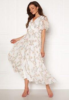 VERO MODA Wonda S/S Wrap Maxi Dress Snow White AOP Bubbleroom.dk