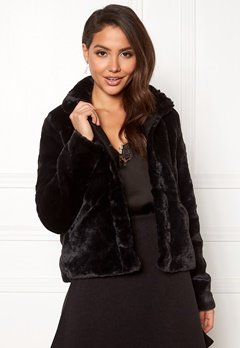 ONLY Vida Faux Fur Jacket Black Bubbleroom.dk