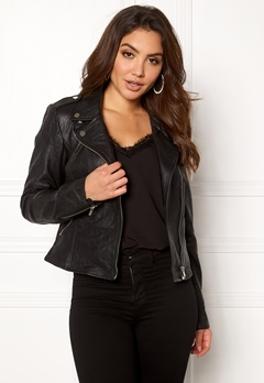 VILA Becky Leather Jacket/TB Black Bubbleroom.dk