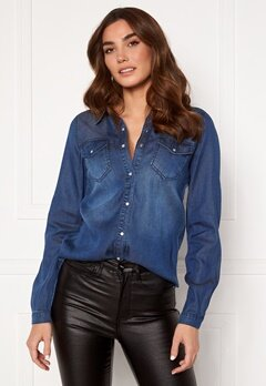 VILA Bista Denim Shirt Dark Blue Denim Bubbleroom.dk