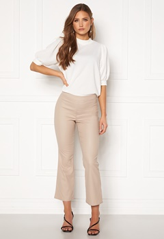 VILA Commit Coated HWSL Cropped Pants Simply Taupe Bubbleroom.dk