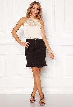 VILA Commit Peplum Denim Skirt Black Bubbleroom.dk