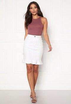 VILA Commit Peplum Denim Skirt White Alyssum Bubbleroom.dk