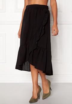 VILA Dama Flounce Midi Skirt Black Bubbleroom.dk