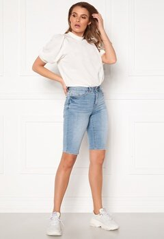 VILA Ekko RWSS Overknee Denim Shorts Light Blue Denim Bubbleroom.dk