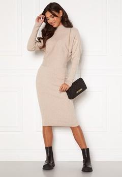 VILA Elasta 3/4 Sleeve Knit Dress Natural Melange Bubbleroom.dk