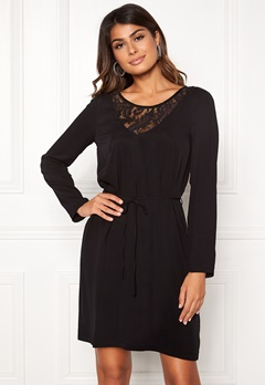 VILA Everly L/S Dress Black Bubbleroom.dk