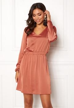 VILA Faiza L/S Dress Redwood Bubbleroom.dk