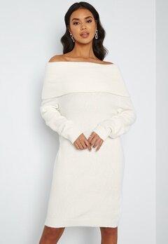 VILA Flinka L/S Knit Dress White Alyssum bubbleroom.dk