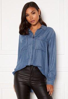 VILA Floria L/S Shirt Medium Blue Denim Bubbleroom.dk