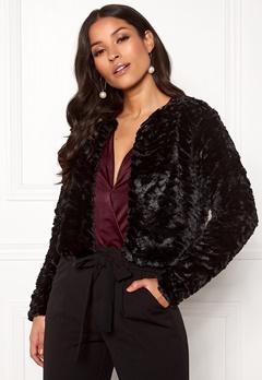 VILA Fury L/S Faux Fur Jacket Black Bubbleroom.dk