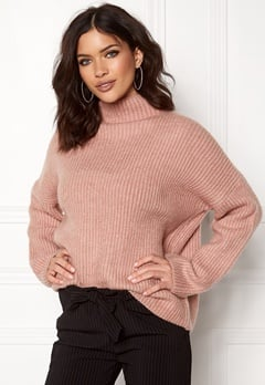 VILA Grip L/S Knit Top Adobe Rose Bubbleroom.dk
