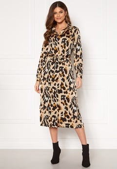 VILA Jolie L/S Shirt Dress Nomad AOP Leopard Bubbleroom.dk