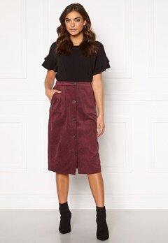 VILA Josy Button HW Skirt Tawny Port Bubbleroom.dk