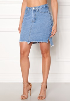 VILA Jules HW Slit Skirt Light Blue Denim Bubbleroom.dk