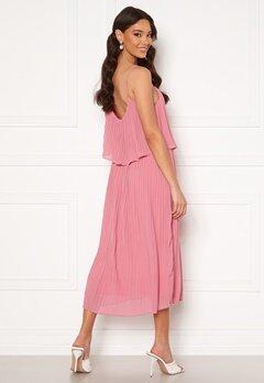 VILA Katelyn S/L Pleated Midi Dress Wild Rose Bubbleroom.dk