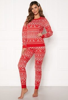 VILA Kosi Knit Leggings Racing red Bubbleroom.dk