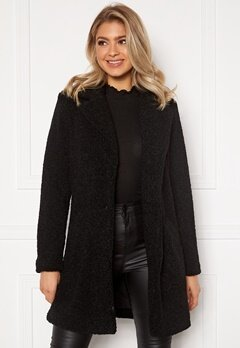 VILA Liosi Teddy Coat Black Bubbleroom.dk