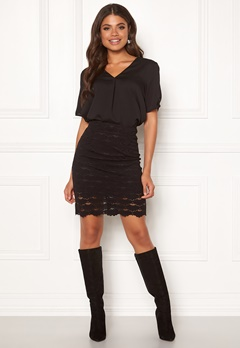 VILA Lizette Skirt Black Bubbleroom.dk