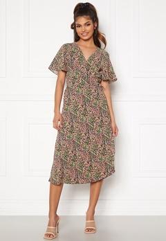 VILA Lovie S/S Wrap Midi Dress Black Vinta Bubbleroom.dk