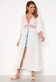 VILA Lupine Long S/S Coverup Dress Cloud Dancer Bubbleroom.dk