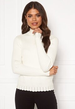VILA Olivi Knit Funnel Neck L/S Top Whisper White Bubbleroom.dk
