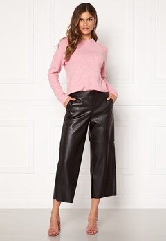 VILA Pen RWRX Cropped Coated Pants Black Bubbleroom.dk