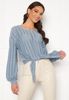 VILA Piline L/S T-Shirt Ashley Blue Bubbleroom.dk