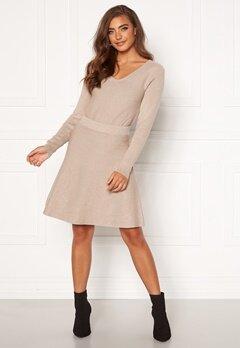 VILA Plisana Knit HW Skirt Natural Melange Bubbleroom.dk