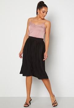 VILA Pliss Midi Skirt Black Bubbleroom.dk