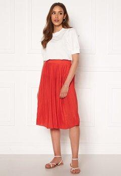 VILA Pliss Midi Skirt Flame Scarlet Bubbleroom.dk