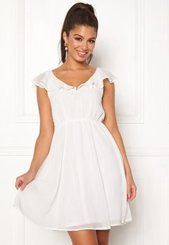 VILA Rannsil S/L Short Dress Cloud Dancer Bubbleroom.dk