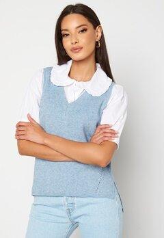 VILA Ril Knit Rib V-Neck Vest Ashley Blue bubbleroom.dk