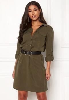 VILA Safarina L/S Dress Dark Olive Bubbleroom.dk