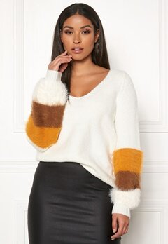 VILA Samar Knit V-Neck L/S Top Whisper White Bubbleroom.dk
