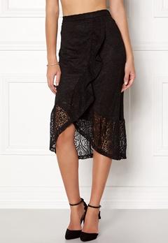 VILA Sepra Flounce Lace Skirt Black Bubbleroom.dk