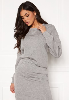 VILA Sif New L/S Top Light Grey Melange Bubbleroom.dk