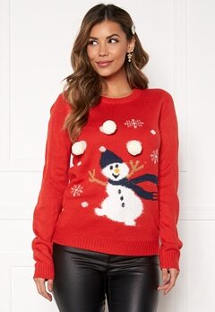VILA Snowman L/S Knit Top Racing red Bubbleroom.dk
