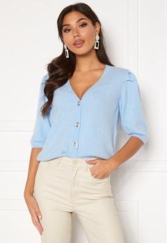 VILA Sparkle S/S Knit Cardigan Cashmere Blue Bubbleroom.dk