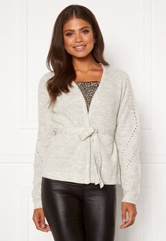 VILA Suril Knit Belt L/S Cardigan Super Light Grey Mel Bubbleroom.dk