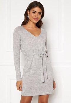 VILA Suril L/S V-Neck Short Knit Dress Light Grey Melange Bubbleroom.dk