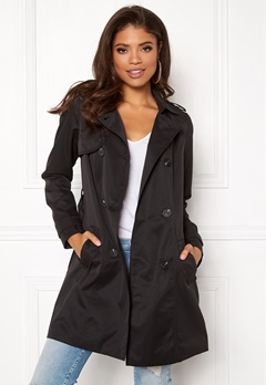 VILA Three Long Trenchcoat Black Bubbleroom.dk