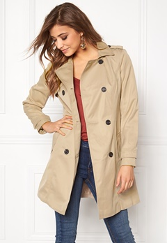 VILA Three Long Trenchcoat Soft Camel Bubbleroom.dk