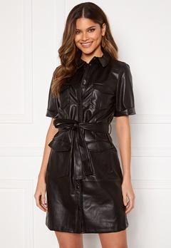 VILA Tria Coated S/S Dress Black Bubbleroom.dk