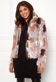 VILA Veria Faux Fur Jacket Sandshell Bubbleroom.dk
