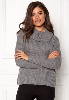 VILA Viview Cowlneck Knit Top Medium Grey Melange Bubbleroom.dk
