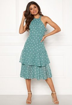 VILA Yrsa Dot S/L Midi Dress Oil Blue Bubbleroom.dk